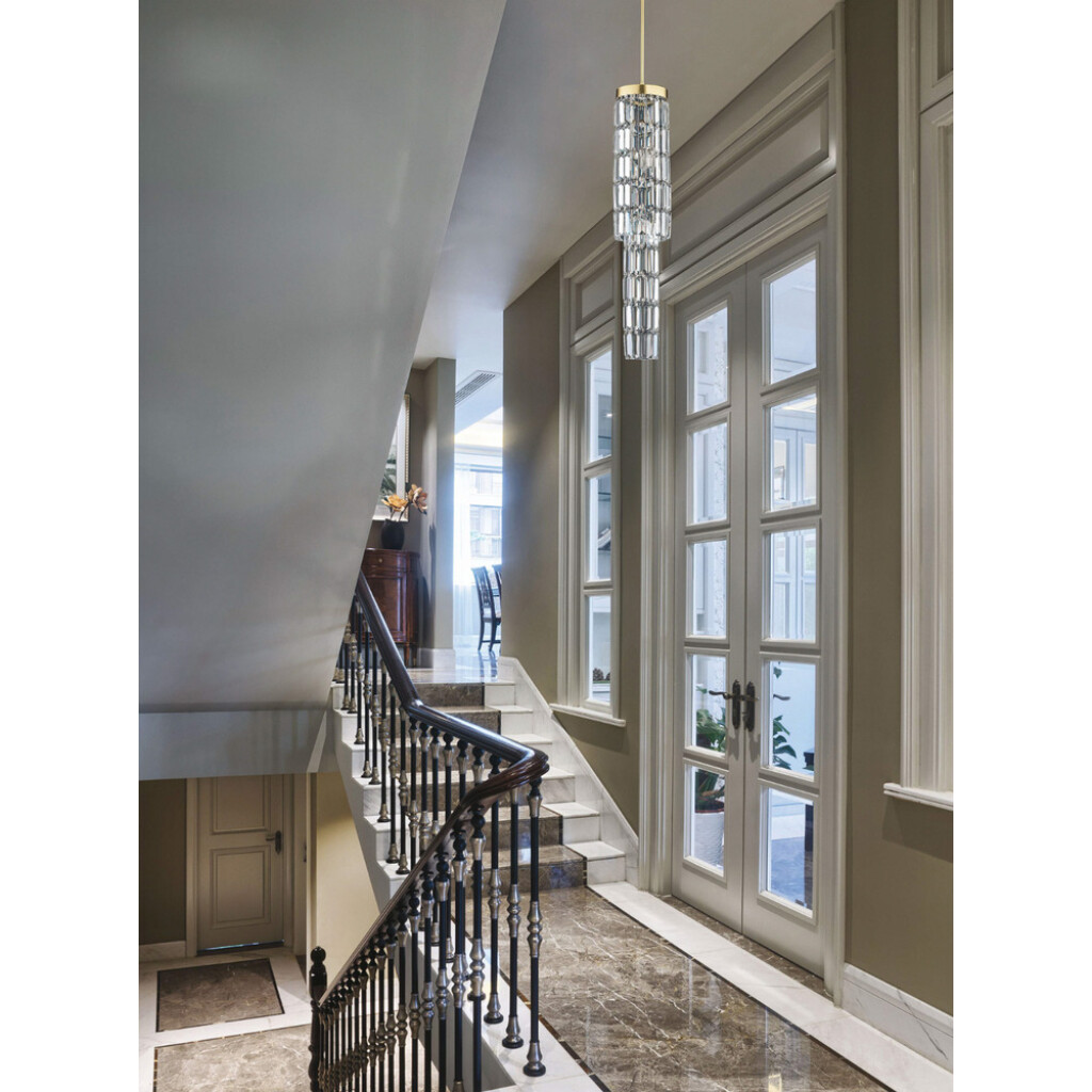 hallway ideas with crystals pendant light ELLINI in gold