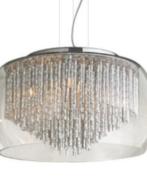 Rego beautifully shimmering glass in the light of a halogen bulb. Chromed icicles enclosed in a transparent shade. It can be a strong accent in the interior.