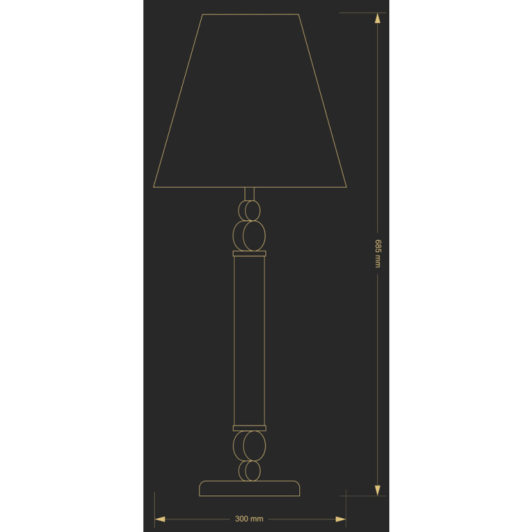 Traditional table lamp Tamara brass with glass gold finish with blue lamp shade size