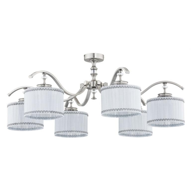 Bespoke lighting AVERNO 6 light semi flush crystal ceiling lights in nickel