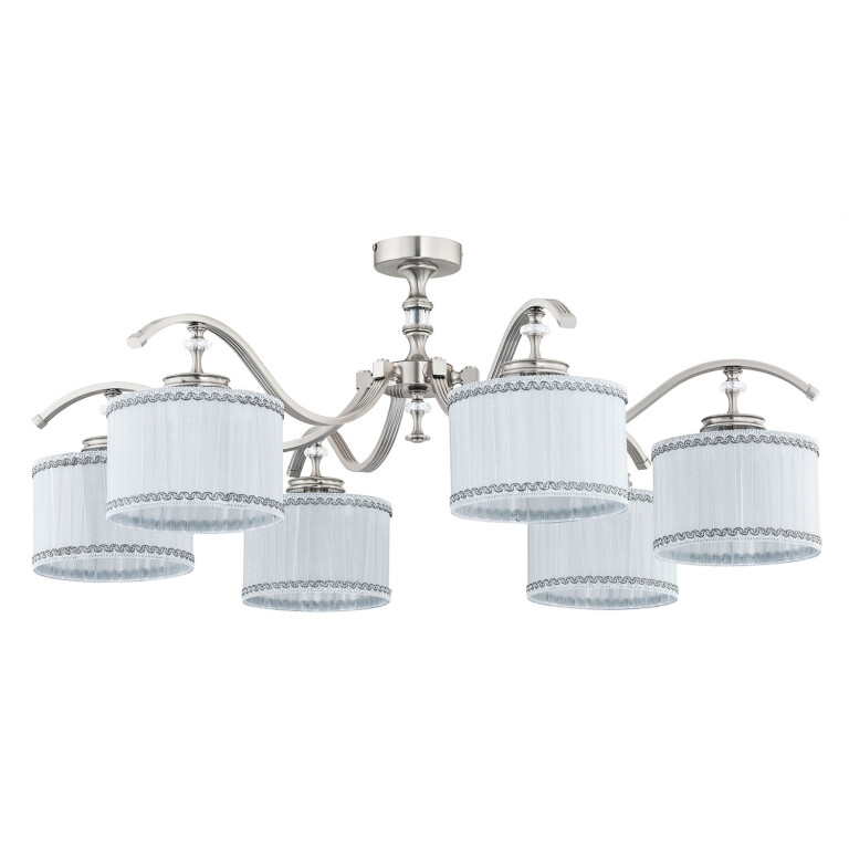 Luxury pendant ceiling 6 lights AVERNO with white shades and Swarovski Crystals
