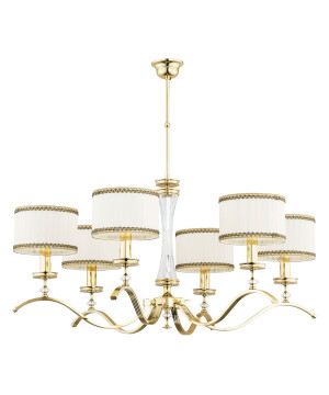 Gold chandelier 6 Arms AVERNO with Swarovski crystals and white shades