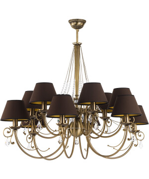 Bespoke Lighting COCO double tier chandelier 12 light in brushed brass with crystals