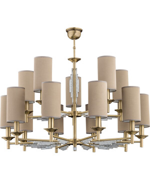 double tier chandelier 15 light FELLINO in brushed brass I crystals with beige shades