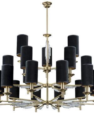 3 tier chandelier FELLINO 21 light in brushed brass with crystals and black lamp shades