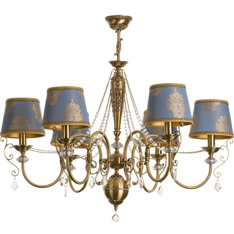 antique brass candle chandelier LUCA 6 light with pattern shades I Swarovski crystals