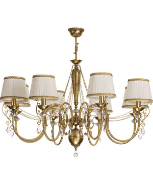 antique chandelier brass LUCA 8 light with crystals I pattern lamp shades