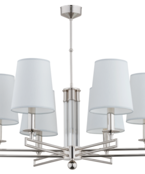 Exclusive contemporary chandelier AMBRA 6 lights with glass and nickel finishes, white lamp shades