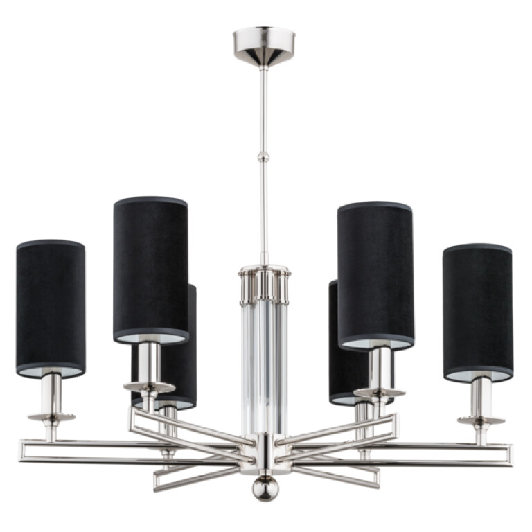 Exclusive modern chandelier AMBRA 2 with glass and nickel finishes, black lamp shades 6 lights