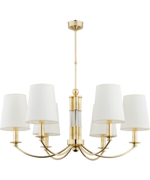 Bespoke lighting ATELIO 6 light extraordinary gold brass chandelier white shades