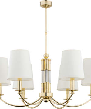 Extraordinary brass chandelier Atelio with gold finishes and white silk lamp shades, decorated by glass elements