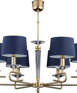 Luxury gold chandelier KADALIA with blue fabric lamp shades and Swarovski Crystals 6 lights