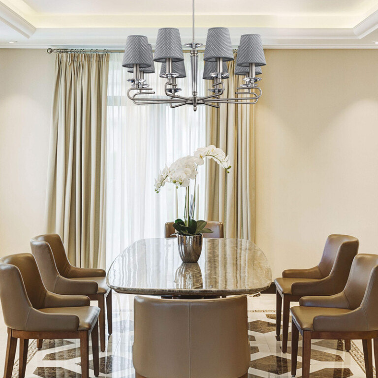 dining room idea with silver chandelier DALILA 8 light