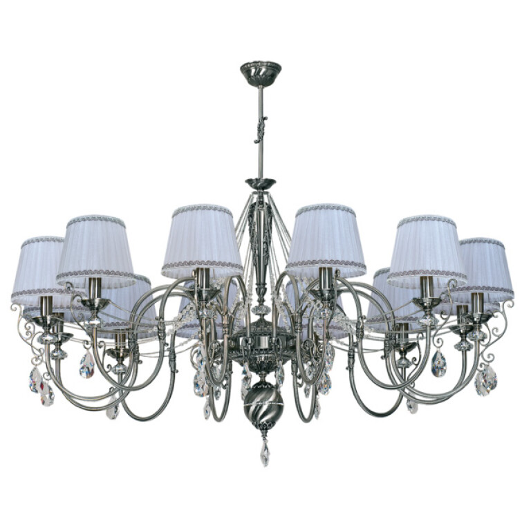 Large shabby chic chandelier LUCA 12 light with crystals and silver shades