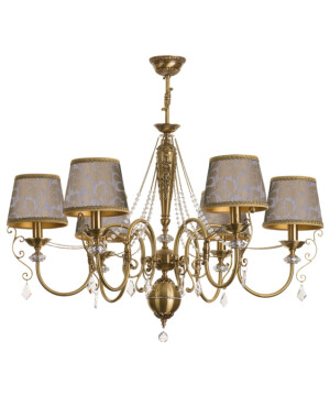 Shabby chic chandelier LUCA crystal 6 light with pattern lamp shades