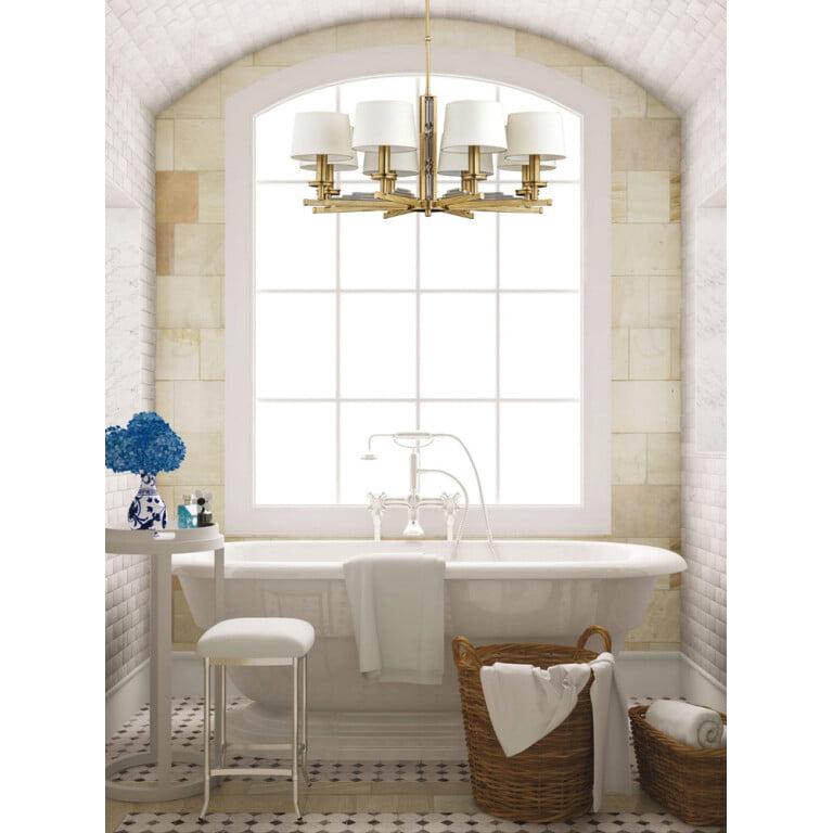 bathroom ideas with brass chandelier Natali 8 light