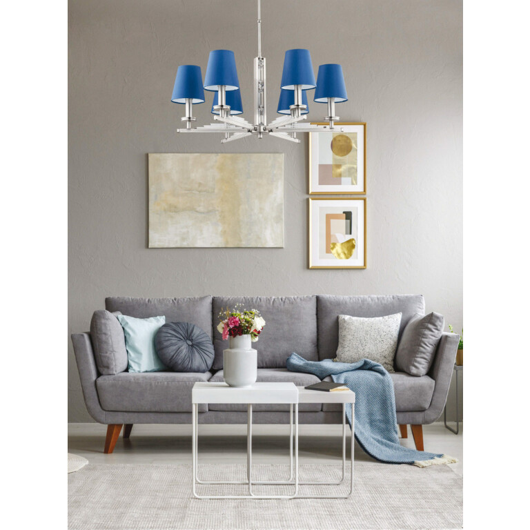 living room ideas grey with chandelier NATALI blue lamp shade