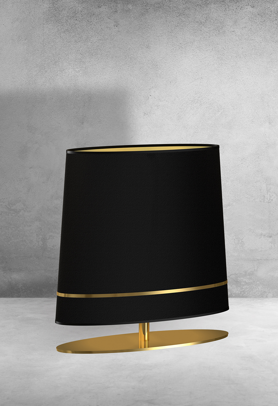 Exclusive table lamp BOOTES in Art Déco style with gold and fabric shade