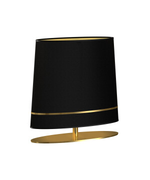 Elegant table lamp BOOTES in Art Déco style with gold and fabric shade