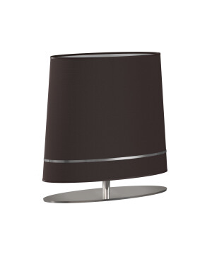 Silver table lamp BOOTES in Art Déco style brass and brown shade