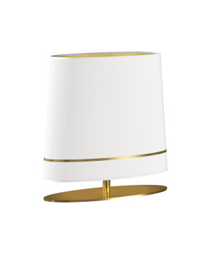 Luxury table lamp BOOTES in Art Déco style with gold and white shade