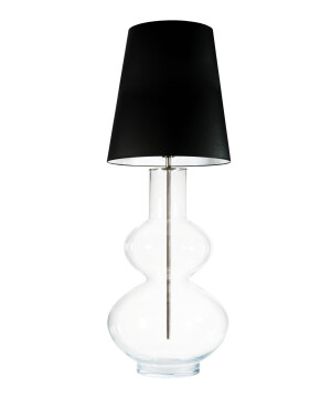 Stylish translucent glass floor lamp BAARU in stainless steel with black white shade