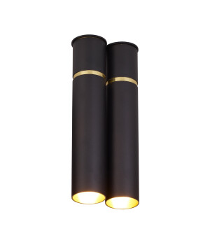 Luxury double ceiling light LYNX tube with gold rim