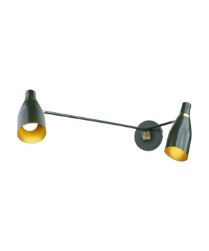Designer green double wall light MADAME CLICQOUT with gold rim