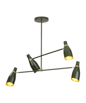 Designer pendant 4 lights MADAME CLICQOUT in contemporary style green/gold
