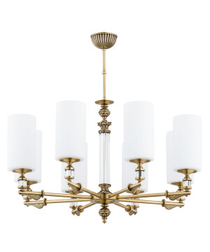 glass chandelier MERANO 8 lights brass lamp glass shade