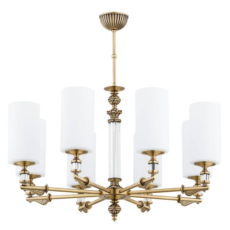 glass chandelier MERANO 8 lights brass lamp glass shade