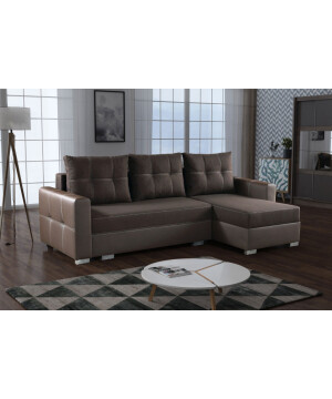 Modern sofa MOLE with brown fabric and faux leather RHF