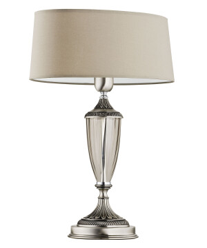 Handmade table lamp MONZA in brushed nickel with beige shade
