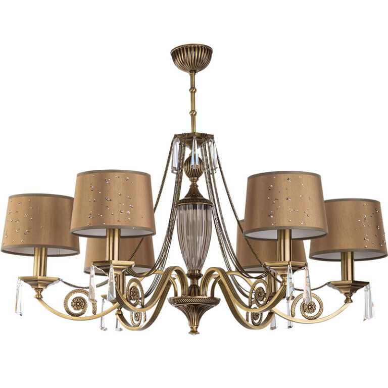 modern brass chandelier MONZA 6 light in brushed brass with crystals