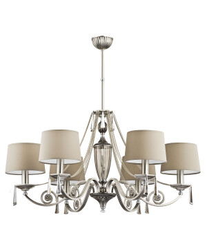 brushed nickel contemporary chandelier MONZA 6 light with beige shades