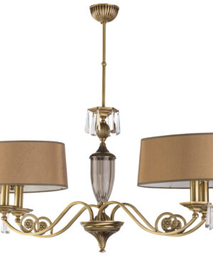 Modern crystal chandelier MONZA 4 light in brushed brass with lamp shades