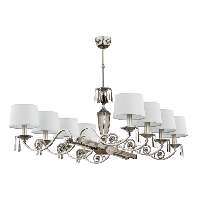 Large ceiling 8 light MONZA in nickel with white lamp shades