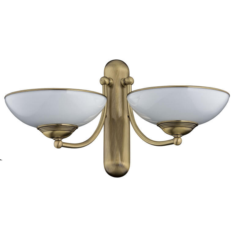 traditional wall light HELEN 2 light in brushed brass with glass shades