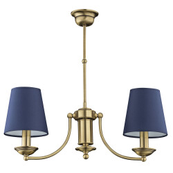 2 light chandelier ANTHONY in brushed brass with blue shades