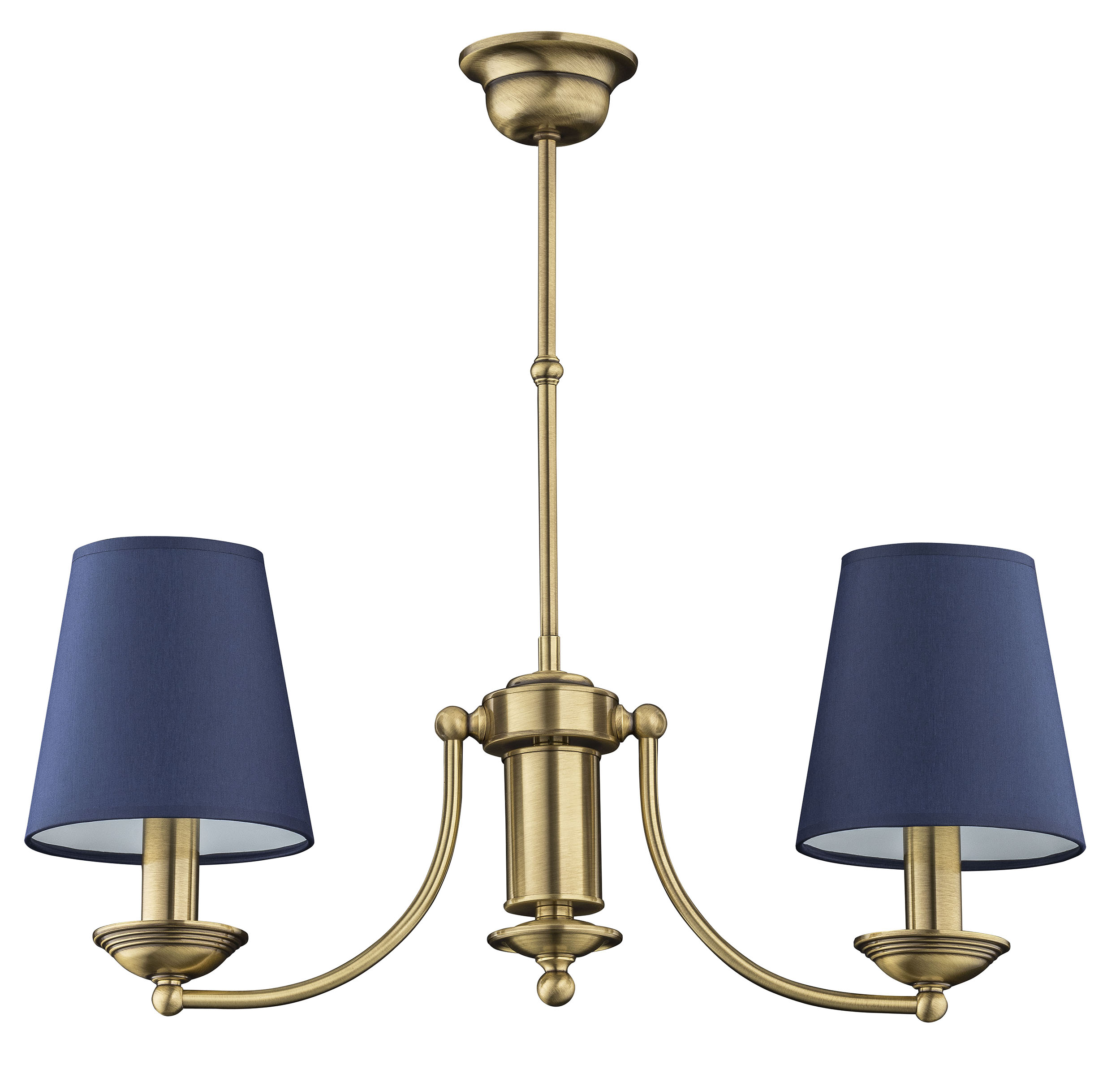 2 Light Chandelier Anthony Brass Blue Lamp Shades Luxury Chandelier