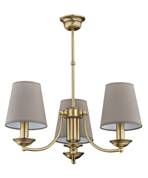 Traditional chandelier ANTHONY 3 light in brushed brass with beige shades