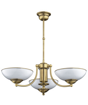 3 light chandelier HELEN in brushed brass with glass shades