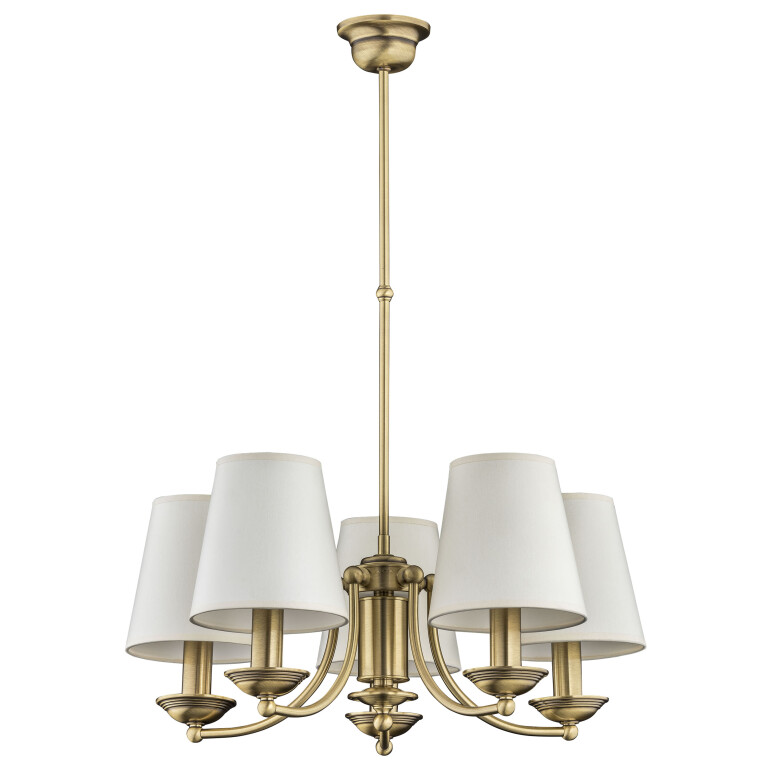 Traditional chandelier ANTHONY 5 light in brushed brass with white shades