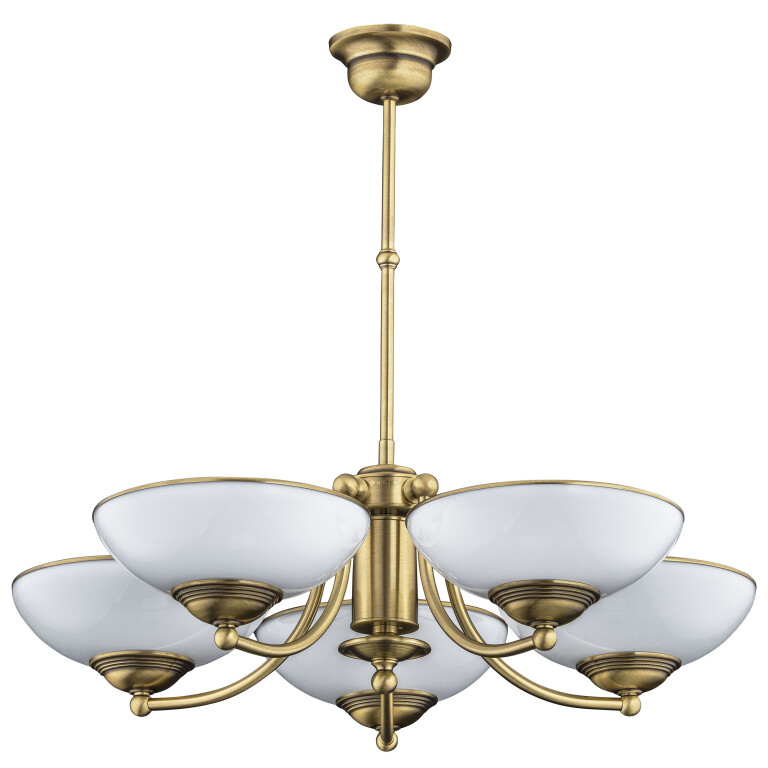 traditional chandelier HELEN 5 light in brushed brass with glass shades