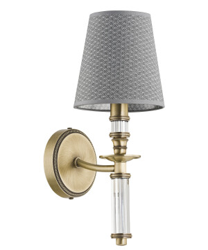 modern wall light NAPOLI in brushed brass with grey lamp shade