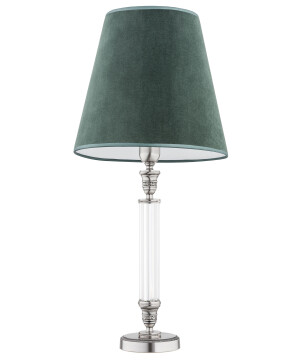 Traditional table lamp NAPOLI in brushed nickel with green lamp shades
