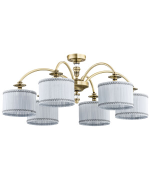 low ceiling light NAPOLI in brushed brass pendant 6 lights