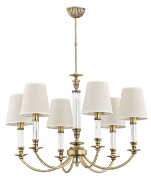 antique brass chandelier NAPOLI 6 light with beige lamp shades