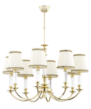 8 light gold chandelier NAPOLI with cream pleated shade