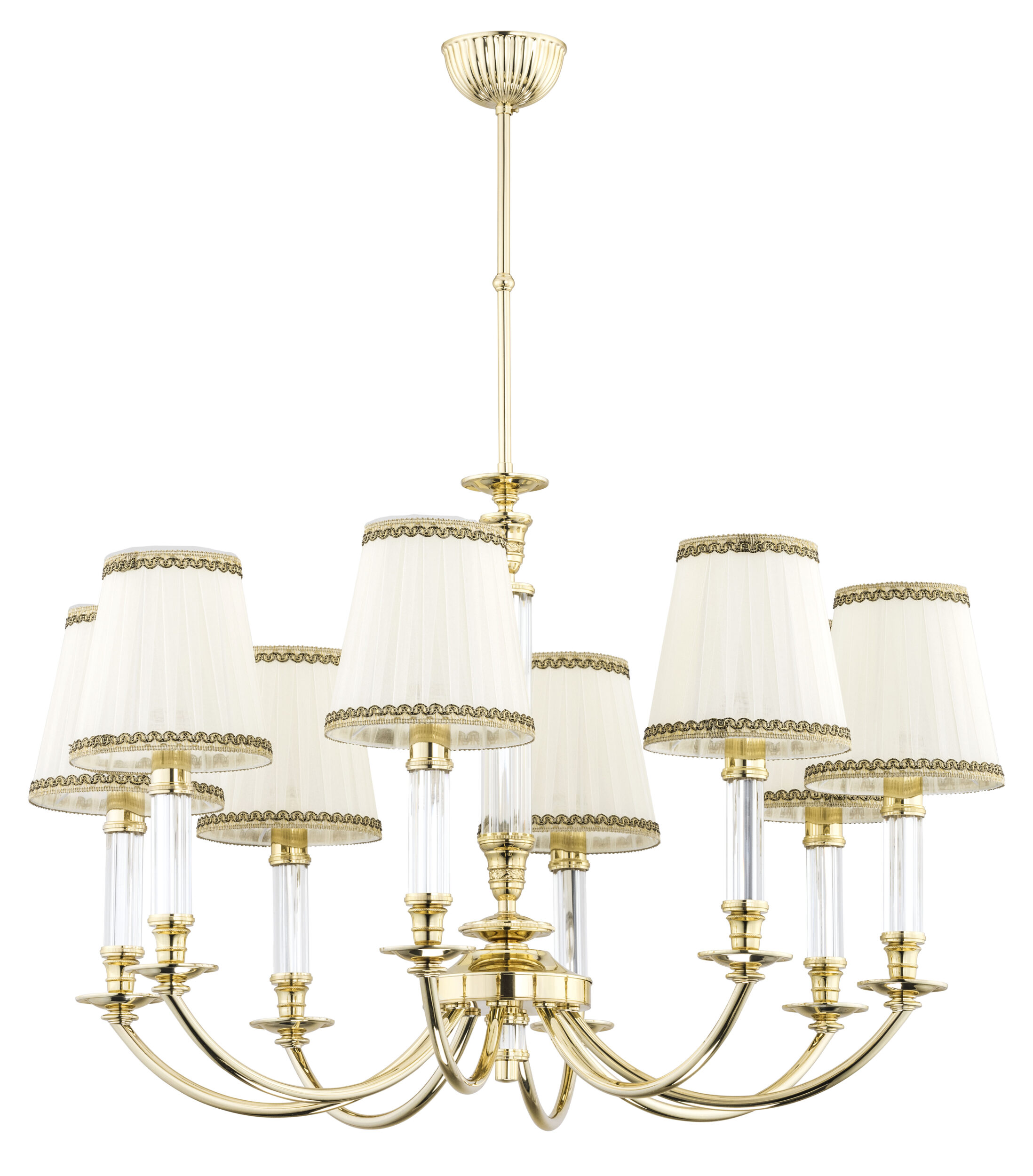 8 Light Gold Chandelier Napoli Cream Pleated Shade Luxury Chandelier
